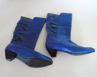 Vintage Bjorn Borg boots Size 9 Blue Suede Leather 1980s designer boots