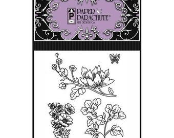 ON SALE Paper Parachute Red Rubber Cling Rubber Stamp Set 84 - UMC084 Floral