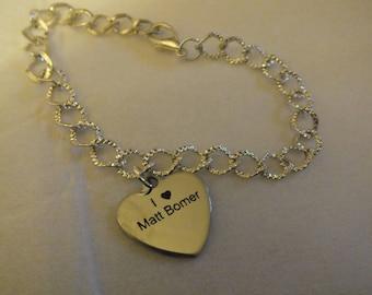 I Love Matt Bomer engraved chain bracelet
