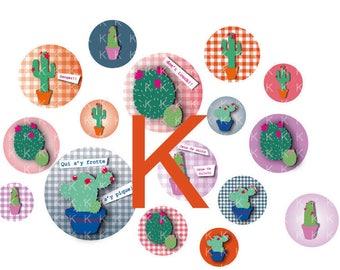 64 images circles digital cactus and gingham print pattern