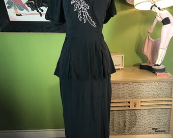 1940s black crepe peplum embroided dress