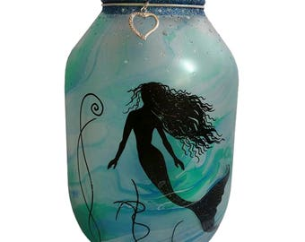 Hand painted mermaid Lantern, candle holder, light jar, night light, wedding centrepiece, MADE TO ORDER.