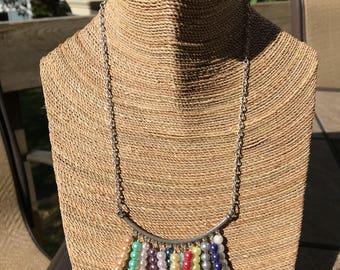 """Multi-color pearl """"fan"""" necklace"""