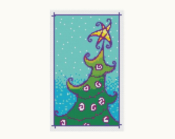 Mini Cross Stitch Pattern PDF, Embroidery Chart, Art Cross Stitch, Holiday Cross Stitch, Christmas Series: Christmas Tree (TAS053)
