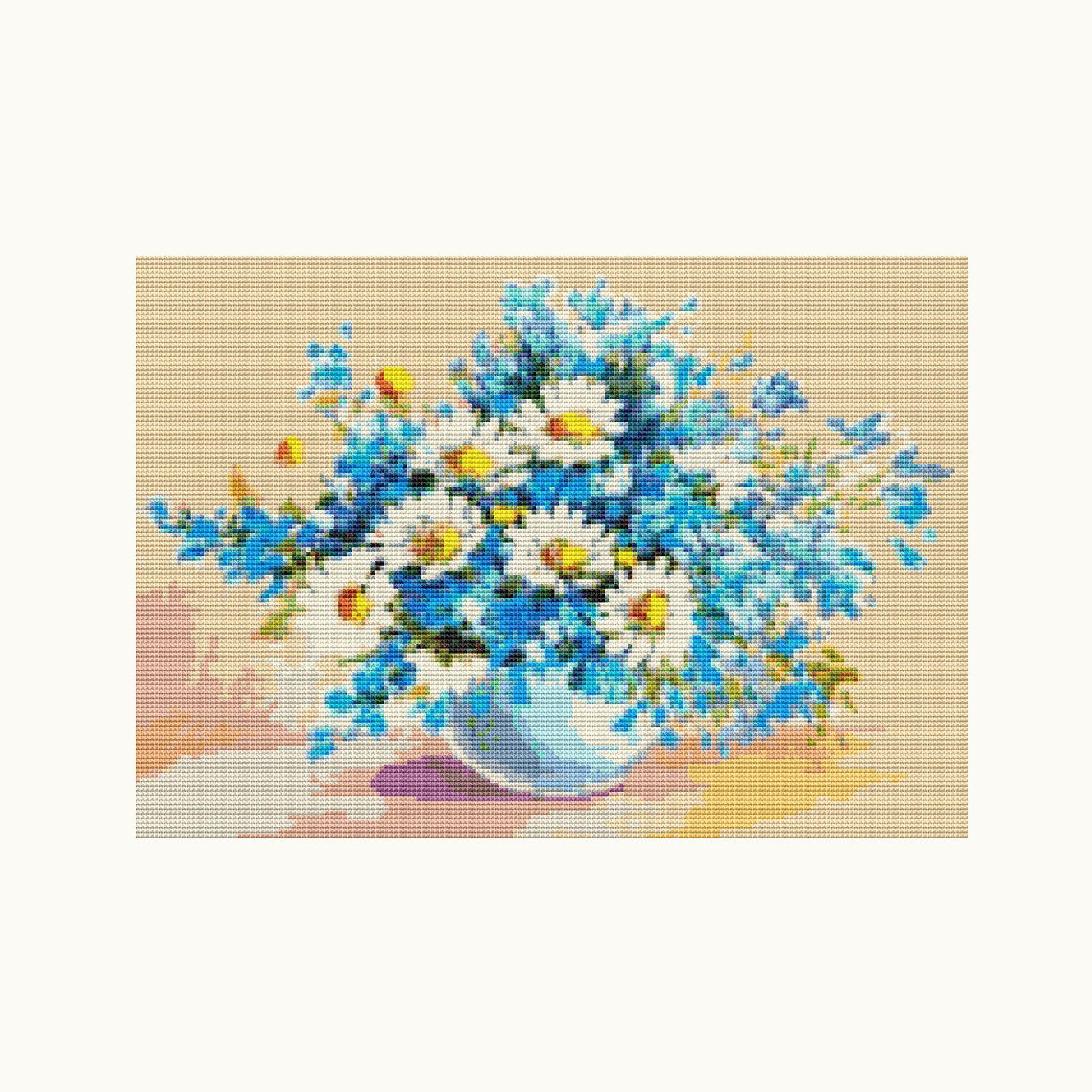 Cross Stitch Kit Daisies In A Sea Of Blue Floral Embroidery