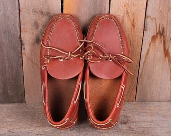 1980s Era Mens LL Bean Leather Sole Moccasin Slippers Size 7 half Mens