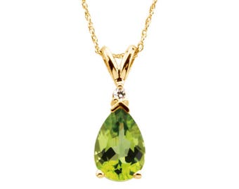 Beautiful 2.2ct Genuine Pear Cut Peridot and Diamond Necklace 14k Gold Jewelry Gift Wife Daughter Mom Bride August Birthstone jewelry