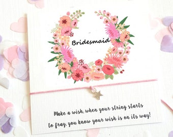 Wish String Bracelet Mother of the Bride Bridesmaid Wedding Wreath Favour Card Hen Party Vintage