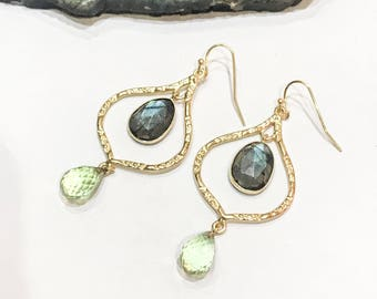 Labradorite and Green Amethyst Chandelier Earrings