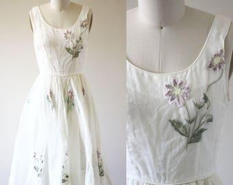 1960s white floral dress  // floral embroidered dress // vintage dress