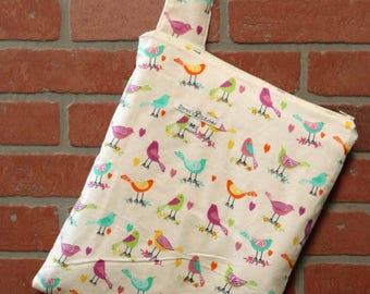 Cloth Diaper Wetbag, Birds, Flannel Diaper Pail Liner, Diaper Bag, Day Care Size, Holds 5 Diapers, Size Medium with Handle item #M100