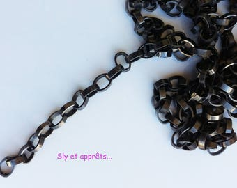 Black 5mm oval link chain 50cm