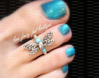 Toe Ring - Silver Dragonfly - Turquoise Stone - Stretch Bead Toe Ring
