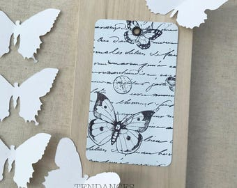 """Great tag Metal Xl """"old writing and butterflies"""" 12 Cm X 7 Cm """""""""""