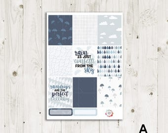 Rainy Day Vertical Weekly Kit - ECLP, TN, Personal, Happy Planner Stickers
