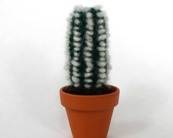 Thin Dark Green Crocheted Fluff Cactus - Made to Order, Fake Cactus, Old Man Cactus, Decor Cactus, Soft Cactus