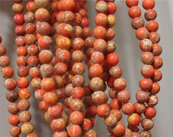 48 pearls Jasper Terra Aqua orange 8mm round