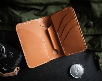 Leather Mid Wallet Bifold Vegetable Tanned Veg Tan Solid Brass Hardware