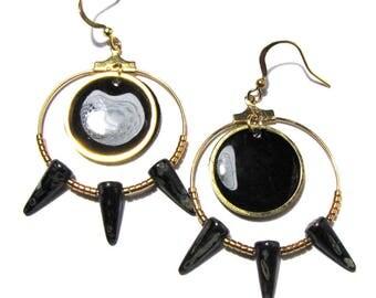 hoop earrings, sequins, spike - black and gold