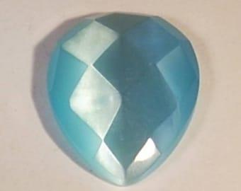 Cabochon 31mm light blue faceted glass drop