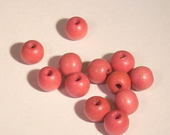 Pink set of 10 round wooden beads 7mm