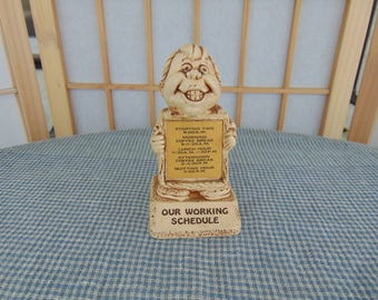 Paula Figurine Our Working Schedule 1973 Made in USA