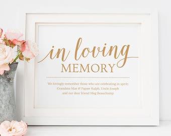 In Loving Memory Wedding Sign Printable // Gold Wedding Remembrance Sign // Loving Memory Wedding Download