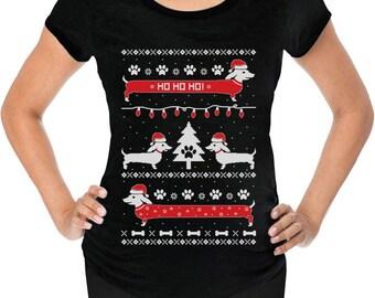 Funny Dachshund Snow Ho Ho Ho Ugly Christmas Maternity Shirt