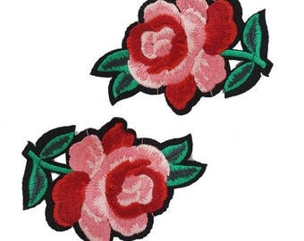 Iron On Embroidered Pink Roses Patches Appliques, Pink Flower Appliques, Glue on Flowers
