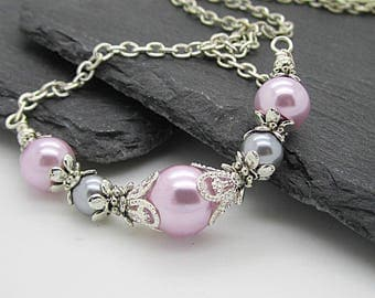 Pink and Grey Bridesmaid Jewellery, Grey and Pink Wedding Jewellery Sets, Pearl Necklaces, Bridesmaid Gifts, Matching Bridal Sets, Handmade