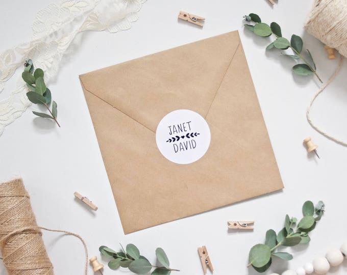 CUSTOM Stickers - Personalised Wedding Envelope Stickers - Gloss - Vine Leaf Foliage - 51mm diameter Envelope Seals Wedding Favours Favors