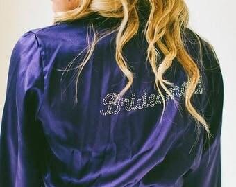 ON SALE Rhinestone Bride Bling Robe, Bridesmaid Robes and Bridesmaid Gifts, Custom Rhinestone Title Robe, Getting Ready Bridal Robes.