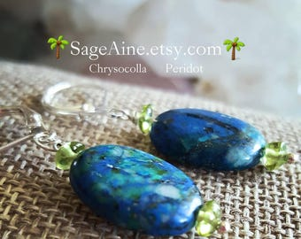 SageAine : Chrysocolla and Peridot Silver Earrings, Sacred Goddess, Reiki Charged, Throat Heart Root Chakras, Gift for her
