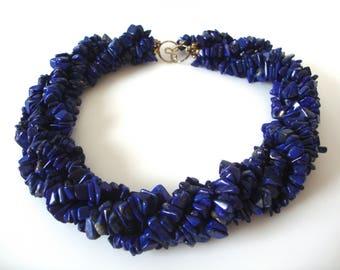 Vintage Lapis Five Strand Choker Necklace