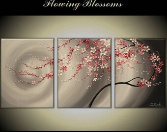 """4th of July sale original Modern Impasto Painting on Gallery wrapped Canvas 54"""" x24"""" Home Decor, Wall Art -- flowing pink Blossoms--"""