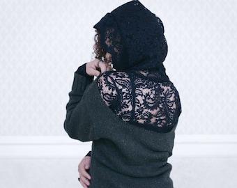 lace shirt, black undershirt, women's hoodie, sheer blouse, size S