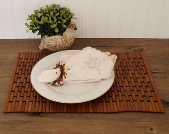 vintage placemats pair teak woven wood rectangle