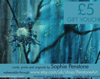 Gift Voucher, Art gift, PenstoneArt voucher, Sophie Penstone art, art lover, gift certificate
