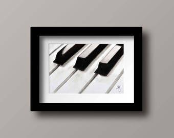 Piano Art Print Black and White Art Print Charcoal Musical Art Print Home Decor
