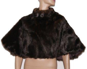 Vintage Stole // Faux Beaver Fur // Cape // Black // Brown // Satin Lined // Wedding Cape// Femme Fatale //Marilyn Monroe