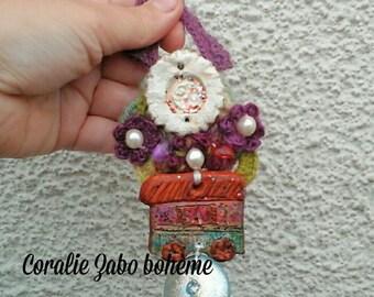 Décoration gypsy bohème à suspendre, roulotte céramique, décoration originale faite-main