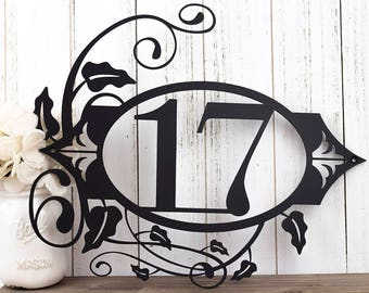 "Custom House Number Outdoor Metal Sign | House Numbers | Address Plaque | Housewarming Gift | Outdoor Wall Art | 2 Digit | 15.5""W x 13""H"