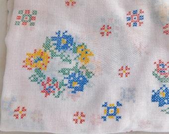 vintage fabric material CURTAIN MATERIAL semi sheer cross stitch design