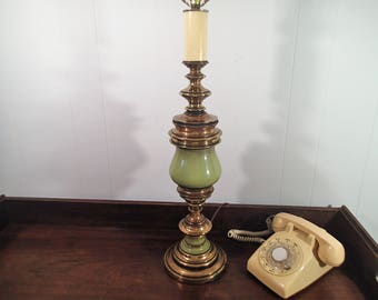 Vintage Brass Table Lamp Green Enamel On Antiqued Tall 3