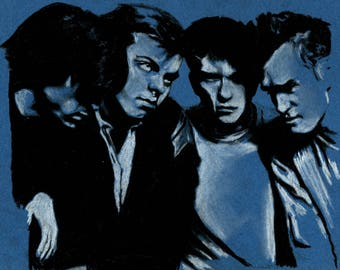 Original A4 charcoal drawing of The Smiths.