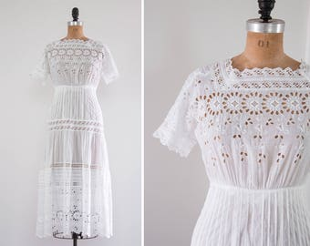 vintage 1910s edwardian tea dress | 1920s cotton dress | antique white dress