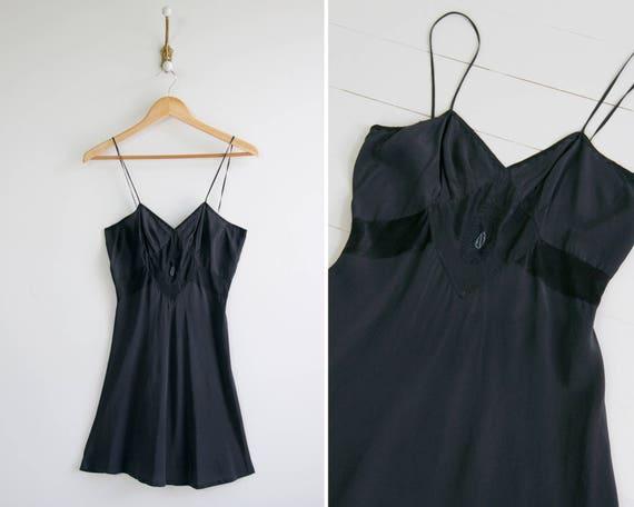 vintage 1930s silk slip | bias cut black silk slip | 30s silk nightgown | flapper 1920s slip | 1930s slip dress