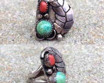 20% OFF vintage old pawn Native American sterling silver turquoise coral southwestern ring size 7