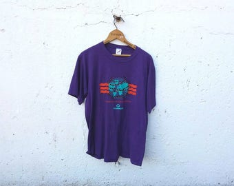 Promega committed to science purple vintage shirt tee t-shirt jerzees men's graphic