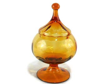 Mid-Century Amber Yellow Italian Empoli Optic Style Ribbed Pedestal Apothecary Jar with Circus Tent Lid